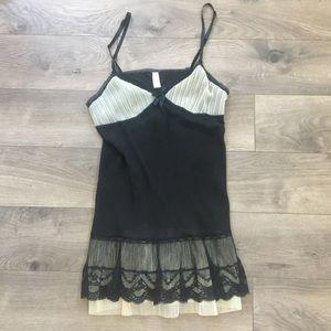 Victoria's Secret angels silk black cream chemise